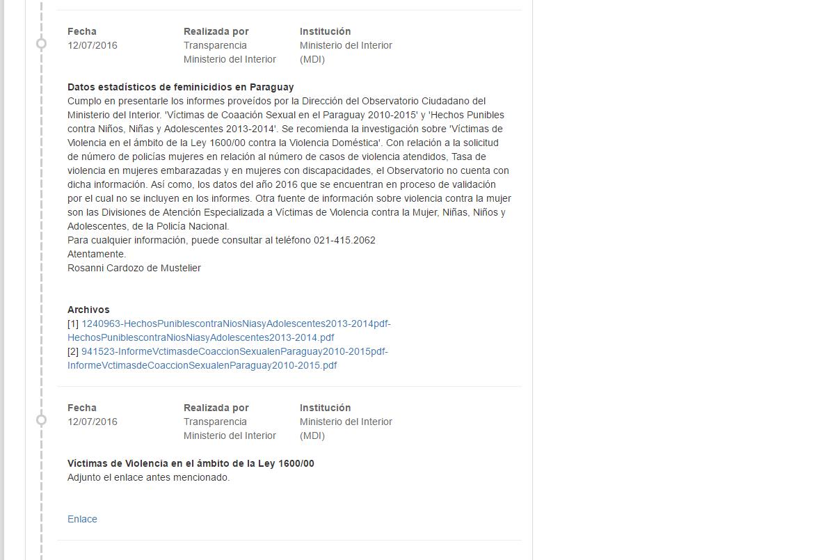 Informaci n prove da por el ministerio de la mujer a for Ministerio del interior telefono informacion